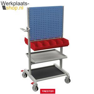 Treston trolley combinatie 2 met opslagbakken, geperforeerd bord en handige legborden - Werkplaats-shop.nl