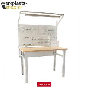 Treston HD workshop werkbank met geperforeerd bord, hakenset, stroomvoorziening en verlichting - Werkplaats-shop.nl