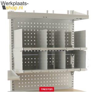 Werkplaats-shop.nl Treston inhaakbare verdeler voor legbord op een inpaktafel of werktafel