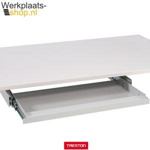 Werkplaats-shop.nl Treston keyboard houder onder een tafelblad van een inpaktafel of werktafel