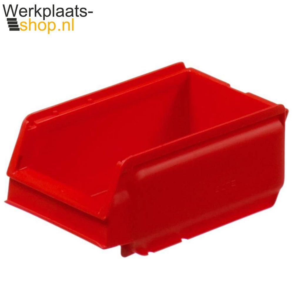 Schoeller arca 9075 opslag containers inhaakbaar rood voor bakkenstrip aan gereedschapsbord