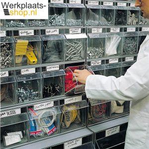 Fami kantelbak elementen zijn ideaal voor maken van een overzichtelijke opslagmuur met kleine onderdelen