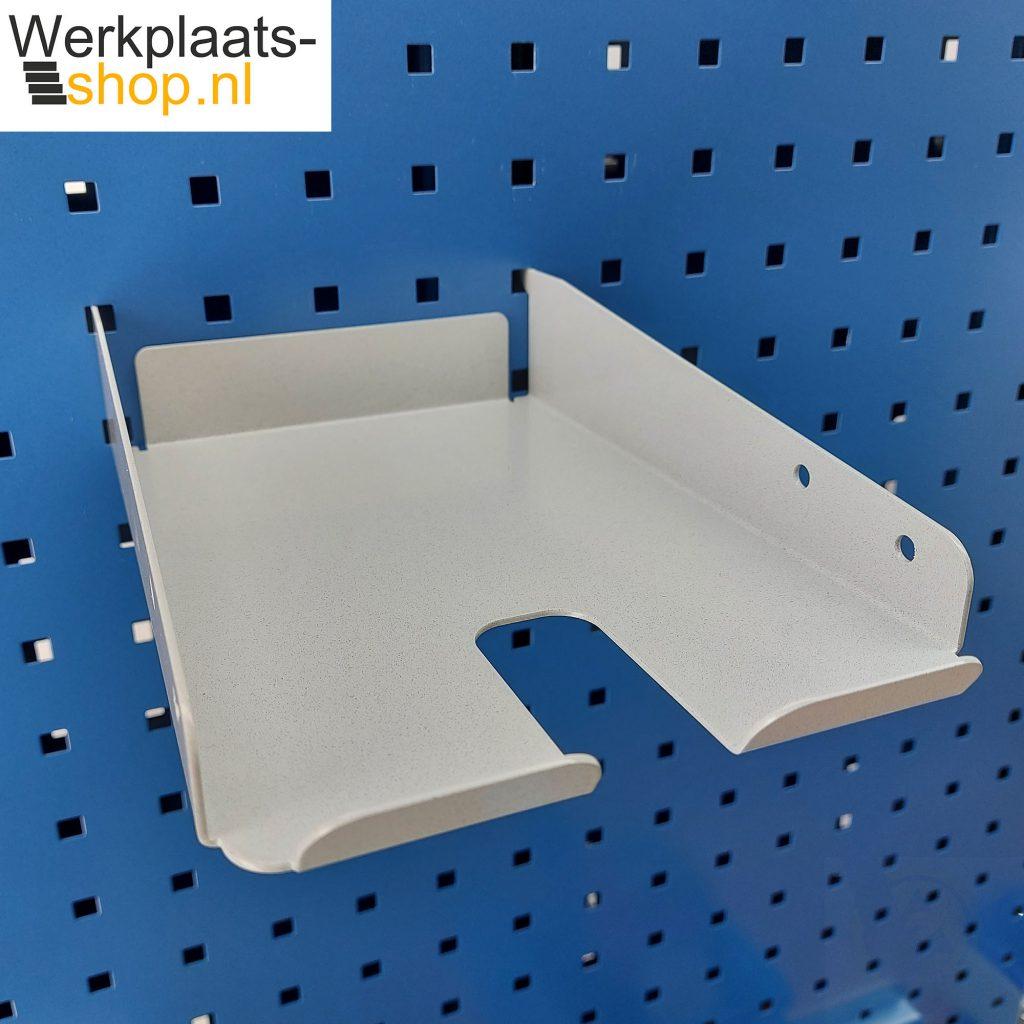 Werkplaats-shop.nl ASSA5P houder voor taperoller aan een gereedschapsbord van een Treston inpaktafel