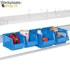 Werkplaats-shop Treston Set opslagbakken SBS4 voor op een bakkenstrip aan een Treston inpaktafel of werktafel