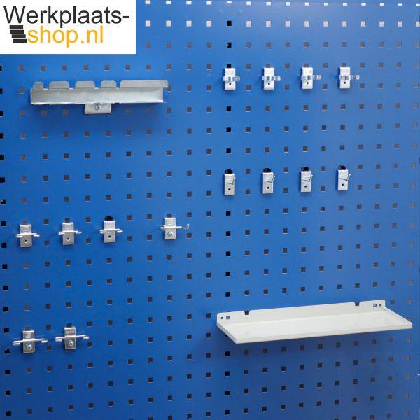 Werkplaats-shop.nl 16 delige hakenset voor het ophangen van klein gereedschap voor elektronica aan een gereedschapsbord