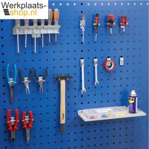 Werkplaats-shop.nl hakenset elektronica 16 delig voor het ophangen van gereedschap op een gereedschapsbord