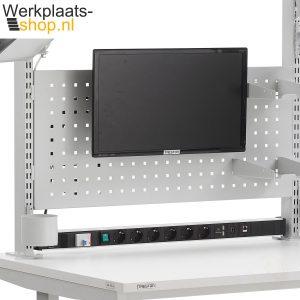 werkplaats-shop Treston LCD beeldschermhouder aan gereedschapsbord van een werktafel